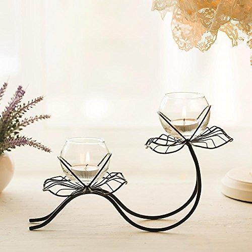 W&X Kerzenhalter Eiserne Kunst Glas Kreativ Lotus Romantisch Valentinstag Abendessen bei Kerzenlicht Esstisch Kerzenhalter , - Esstisch Kerzenhalter