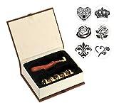 Mogoko Boîte de 6 Sceaux pour Cachet Timbre Lettre Invitation Cadeau - Cuivre Bois Vintage Rétro Classique Paragraphe de Noël
