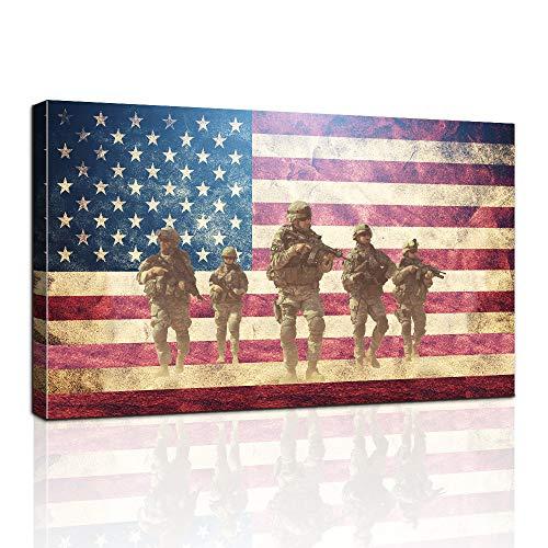 AMEMNY Holzflagge Wand und 6 Soldaten Bilder für Wohnzimmer Leinwanddruck Retro Vintage American Flag Modern Art Gemälde Poster und Drucke Giclée-Druck Kunstwerk Retro 24inchx36inch Zlpzj-Flag 4
