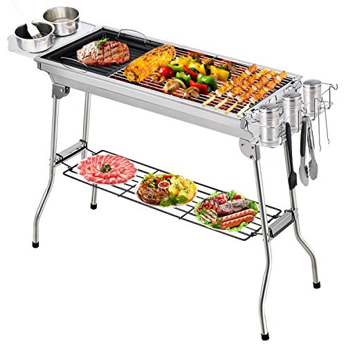 Fixget Barbecue Charbon, BBQ Barbecue à Charbon de Table en Acier Inoxydable Pliable Four...