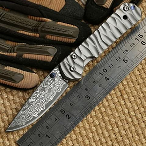 Pocket Chris Reeve small Sebenza 21 Titanium Handle Damascus steel blade Folding Knife camping Tactical survival knives edc tools Universal Knife for Outdoor Camping Hiking & Work Taschenmesser
