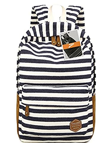 Leaper Canvas Striped Backpack School Book Bag Laptop Rucksack Casual Daypack(Dark Blue)