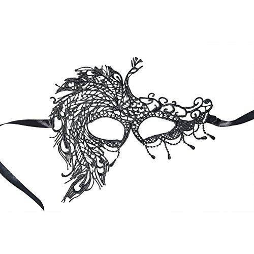 TREESTAR Maske Damen Halloween Sexy Pfau Schwarz Maske Charmant Niedlich Spitze Verlockend Masquerade Karneval Cosplay Bühnenperformance Maske Maskenball Schwarz Augenmaske