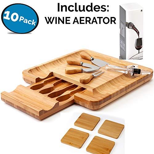 Tabla quesos, aireador vino, juego cubiertos 4 posavasos