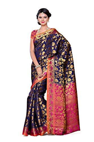 Mimosa Women\'s Traditional Art Silk Saree Kanjivaram Style With Blouse Color:Navy(3297-153-NVY-RNI )