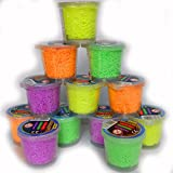 Schnäppchenladen24 12 Dosen Kugelknete Formknete Bastelknete in den Farben orange, gelb, lila und grün