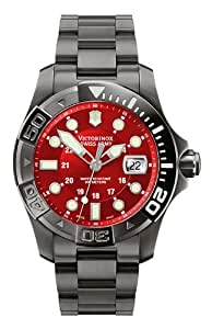 Victorinox Swiss Army Men's Quartz Watch with Red Dial Analogue Display and Red Stainless Steel Bracelet 241430