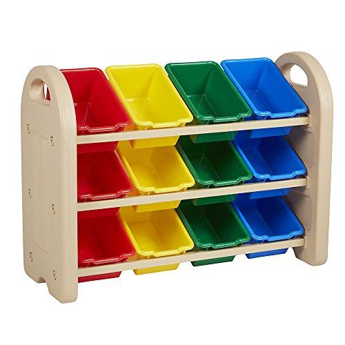 ECR4Kids Spielzeug Lagerung Organizer mit 12Mülleimer, 3-Tier, Sand with Assorted Bins, 13 (Cubby Organizer)