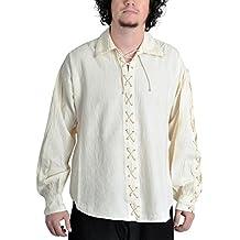 Algodón Camisa pirata Camisa Camisa pirata 16oz) (Tallas S–XXXL Natural, Negro, vino rojo