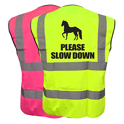 51CHm9RTHbL BEST BUY UK #1Equine PLEASE SLOW DOWN Vest Waistcoat Equestrian Safety Reflective Plus a Brook Hi Vis UK Discount Code for your next order price Reviews uk
