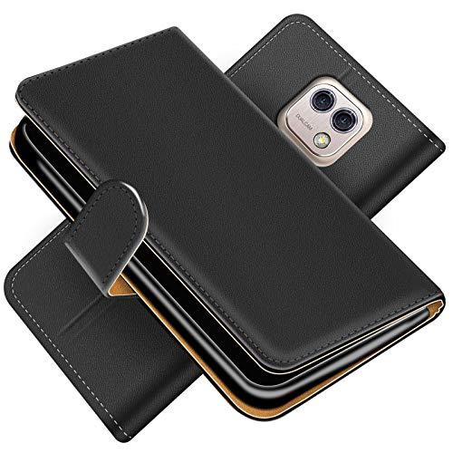 Conie Handytasche für LG X Cam Cover Schutzhülle im Bookstyle aufklappbare Hülle aus PU Leder Farbe: Schwarz