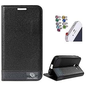 Dmg Praiders Wallet Stand Case For Samsung Galaxy Star Pro 7262 (Black) + 3.5Mm Jewel Dust Jack