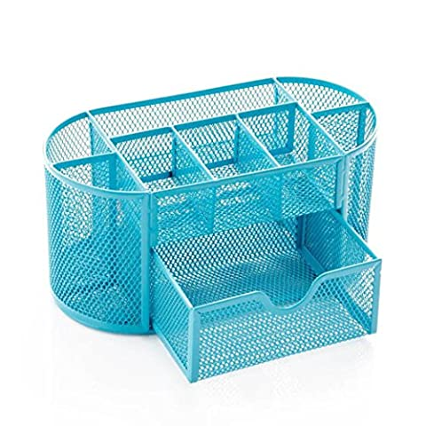 Desk Organizer Office Supplies - Kingwo Desk Supplies Organizer Caddy Contain Suitable for Office or daily essentials Storage such as keys, phones, wallets, jewelry and makeup.,8 sorting compartments (Blue)
