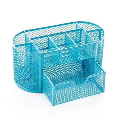 Desk Supplies Organizzatore ufficio - Kingwo escursioni Forniture Organizzatore Caddy blu contengono per cucitrici Forbici Penne Marcatore (blu)