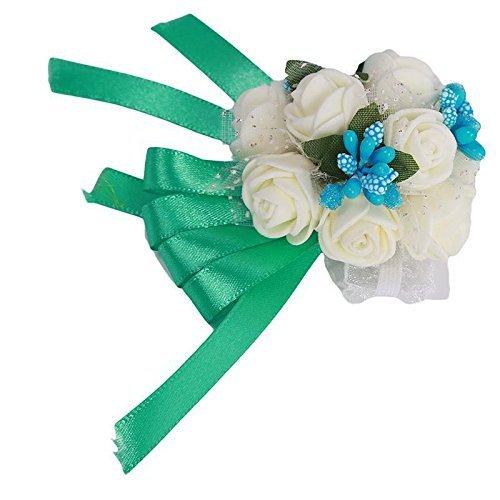 Generic brides damigella matrimonio bouquet di fiori di nastro a mano cinturino fiori bracciale