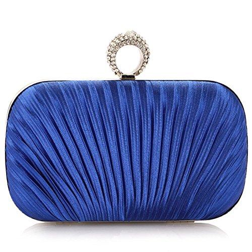 ERGEOB Damen Clutch Abendtasche Handtasche Clutch Kleine Satin Handgelenkstaschen Brauttasche Blau