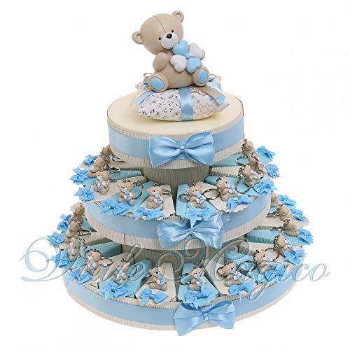 Bomboniera nascita battesimo primo compleanno torta con tenerorsi celeste portachiavi bimbo 35 pz