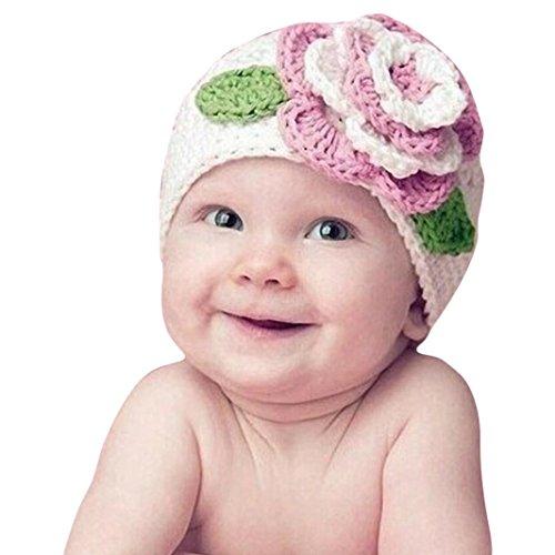 FEITONG Flor grande linda Los niños bebé niño infantil Chica caliente Beanie Knit del sombrero del