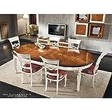 EsteaMobili Tisch Rund Ausziehbar Zweifarbig Massivholz