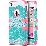 Carcasa iPhone 5c ULAK iPhone 5C caso case funda hñbrida resistente Suave TPU y de PC para Apple iPhone 5C con Protector de pantalla y Stylus (rosa de flor)
