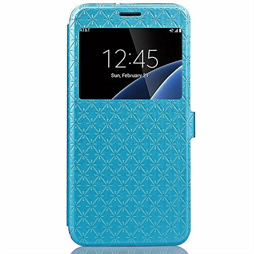 "iPhone 6 Plus / 6S Plus 5.5 Zoll Hülle,Aohro View Window PU Leder Wallet Klapphülle Flip Book Case TPU Cover,ist für Apple iPhone 6 plus/6s Plus 5.5"" Smartphone - Gold Blau"