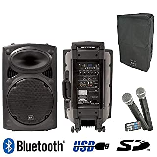 """QTX QR12PA BLUETOOTH - Portable 12"""" PA Rechargeable PA Speaker System With 2 X Wireless Microphones, Built in Trolley Handle, Integral USB SD MP3 Digital Audio Player With Remote"""
