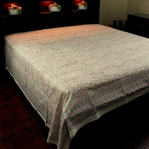 Homestead Tischdecke mit Blockdruck, Wandbehang aus Baumwolle, rechteckig, Tagesdecke, Strandtuch, dünnes Bettlaken Traditionell Full 88 x 108 inches rosa,schwarz