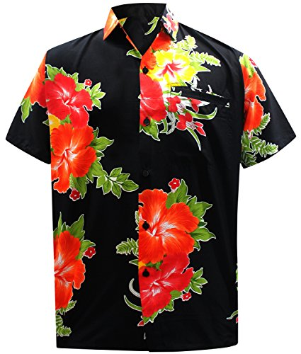 *La Leela* Shirt Camicia Hawaiana Uomo XS - 5XL Manica Corta Hawaii Tasca-Frontale Stampa Hawaiano Casuale Regular Fit Rosso1874 L
