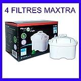 FilterLogic FL402H - confezione 4 filtri - filtro per acqua compatibile con BRITA ® Maxtra ® per caraffa filtrante Elemaris / Marella / Navelia / Fjord / Fun - Bosch Siemens Tassimo  1011170 - 1013333