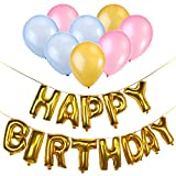 NUOLUX Happy Birthday Buchstaben Luftballons + 50 Stück Rosa Gold blaue Luftballons + 5 Rollen luftballon bänder + luftballonpumpe