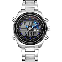 Mens Simulation Digital Sports Watch Multifunción Impermeable LED Design Watches (Color : Blue)