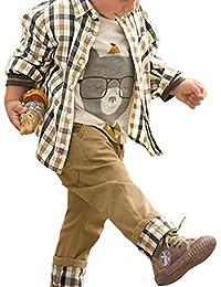 CHIC-CHIC Ensemble Garçon Bébé 3pc Combinaison Chemise Carreau + T-shirt + Pantalons Casual Pull Longues Manches Haut