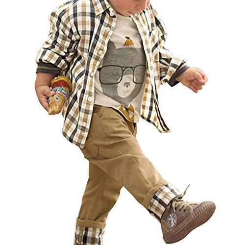 De feuilles Chic-Chic Ensemble Garçon Bébé 3pc Combinaison Chemise Carreau + T-Shirt + Pantalons...