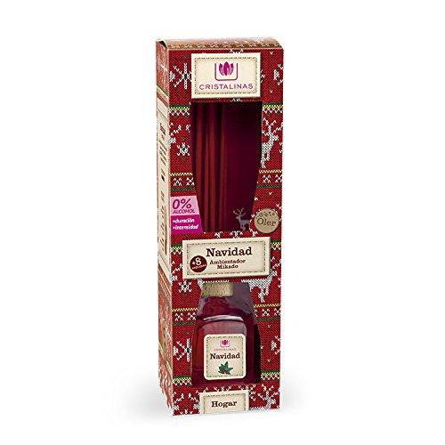 CRISTALINAS Ambientador Aroma A Navidad, Cristal, Rojo, 6.5x6.5x20.5 cm