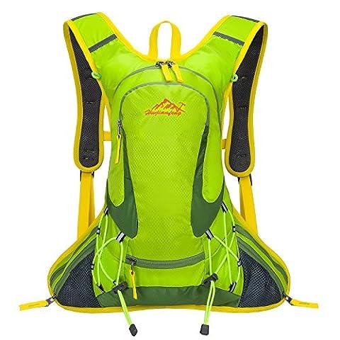 SHTH Sac à dos imperméable de 12L pour cyclisme, sport en extérieur- 44x25x10cm, vert, 44 * 25 * 20 cm