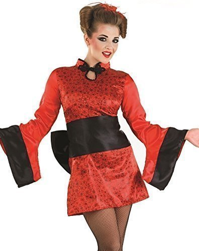 Schwarz Sexy Japanisch Geisha Mädchen Orientalisch Chinesisch Kimono Party Kostüm Outfit - Rot, 16-18 (Geisha Outfits)