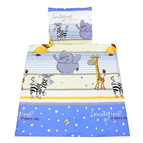 Wiegenset 4-teilig Baby Bettwäsche 80x80 Set Stubenwagen Kinderwagen Garnitur Bettdecken-Set mit Bezüge, Farbe: Imagine Blau, Größe: 80x80 cm