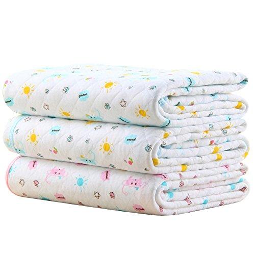 Baby Infant Wasserdicht Matte Wickelauflage - Ökologische Baumwolle Atmungsaktiv Wiederverwendbar Matratze Pad Packung mit 3 (M (50 x 70 cm)) -