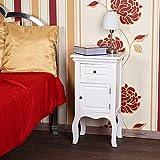 Melko Landhaus-Kommode Weiß 33,5 x 61,5 x 30 cm Nachttisch Nachtschrank Nachtkonsole