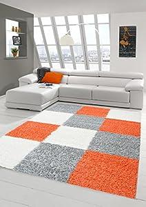 Merinos Shaggy carpet Shaggy Long pile carpet living room carpet Patterned in Karo Design Orange Grey Cream from Merinos