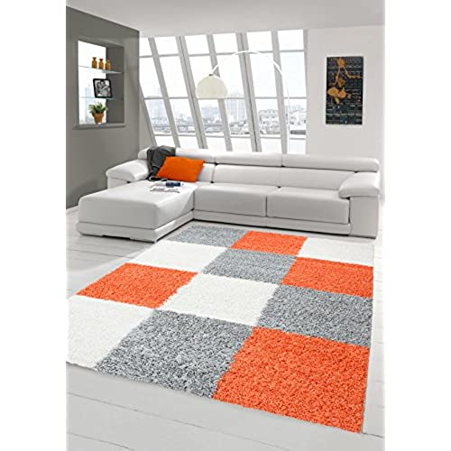Shaggy Carpet Shaggy Long Pile Carpet Living Room Carpet Patterned In Karo  Design Orange Grey Cream Size 160x230 Cm