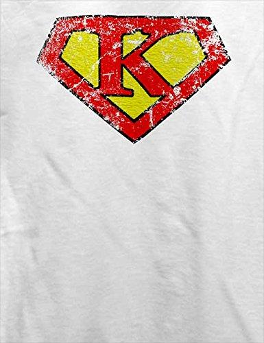 K Buchstabe Logo Vintage T-Shirt Weiß