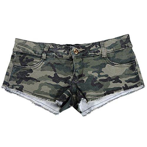 Encounter Damen Short Kurze Hose Denim Jeans Camouflage Hotpants Normaler Bund Stretch Slim Fit (S)