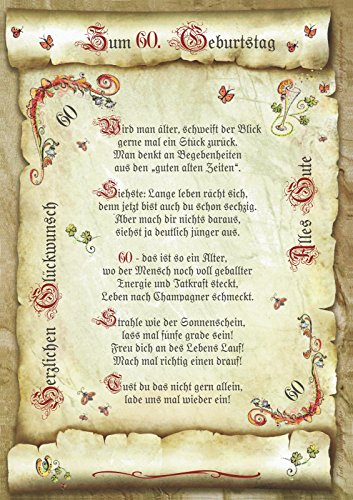 Geschenk 60. Geburtstag Gedicht Präsent Jubiläum