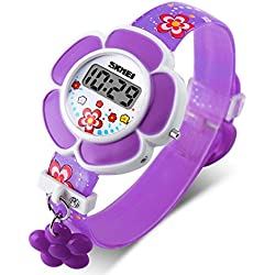 Skmei reloj Digital de los niños niña Cute Lovely Cartoon impresión flor colgante con diseño de estudiantes relojes para niñas