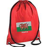 EMBROIDERED Personalised Drawstring GYM Bag/Sac with Welsh Flag image & name for Gym,School, Nursery, Swim,PE, Dance Kit, (Red)