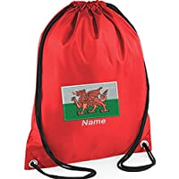 168d88c421fe EMBROIDERED Personalised Drawstring GYM Bag Sac with Welsh Dragon Flag  image   name for Gym · See Colour Options