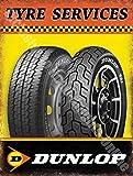 Dunlop Neumático Servicios Coche Moto Bici Rueda Garaje Metal/Cartel Para Pared De Acero - acero, 30 x 40 cm