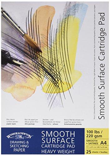 Winsor&Newton - Blocco Carta Satinata, Grana Liscia Incollato - 220 Gr - A4-25 Fogli