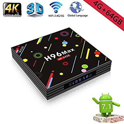 4GB+64GB TV Box Android 7.1 AirPlay Display Screen 4K UHD WiFi RK3328 H96 Max Ultra HD Quad-Core H.265 Bluetooth Media Player